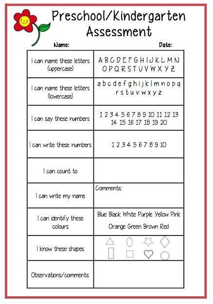 Mesmerizing image within kindergarten readiness test free printable