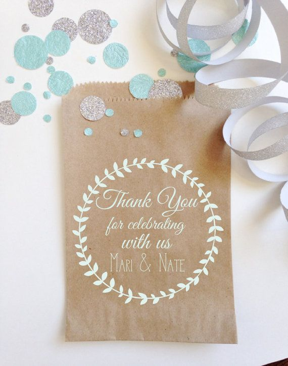 Chalk Ink Laurel Wedding Favor Bags, Unique Wedding Bridal Favors, Elegant Chic, White Chalkboard Printed Favor Bags, White Ink Printing
