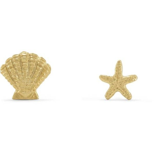 14 Karat Gold Plated Nautical Theme Mismatch Earrings (€14) ❤ liked on Polyvore featuring jewelry, earrings, earring jewelry, shell earrings, seashell jewelry, seashell earrings and starfish earrings