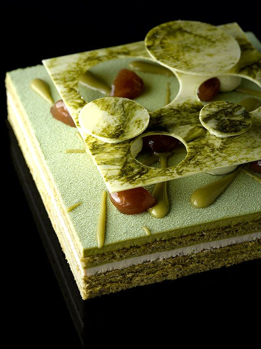 Opera Matcha - Green tea mascarpone mousse, chestnut cremeux, almond crumble, green tea finger sponge
