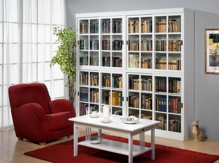 white wooden book cabinet with sliding glass door added white rectangle table and red sofa placed on red carpet with 36 inch bookcase plus cherry