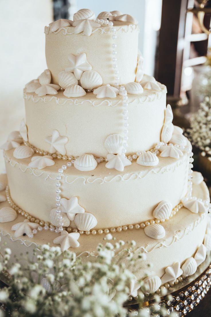 Casamento na praia - bolo de concha