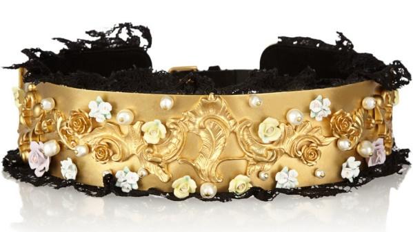 Lujoso Cinturón Dolce & Gabanna de Tono Dorado – Adornado Con Impresionantes Perlas Swarovski
