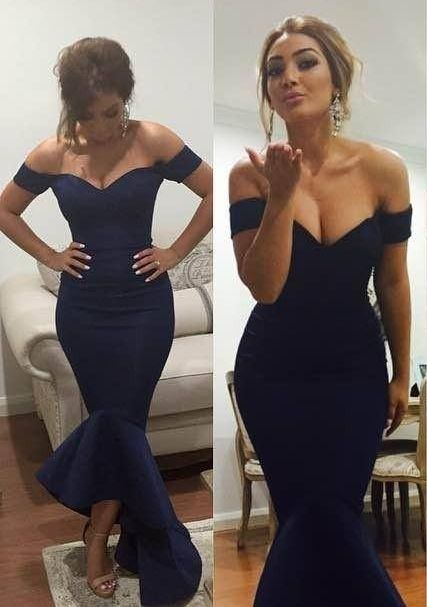 $119-Off-shoulder Dark Navy Blue Prom Dresses Short Sleeves Hi-lo Mermaid Sexy Evening Gowns-Babyonlinedress.com