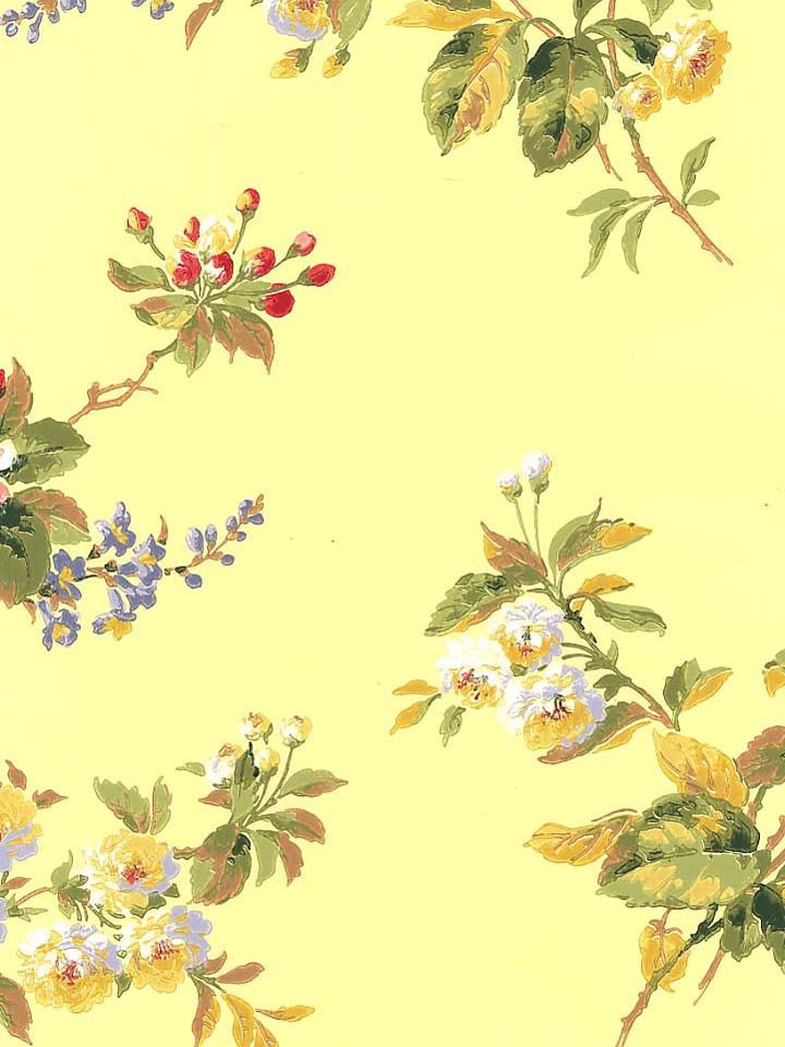 Double Roll Discontinued Waverly Wallpaper Wildflowers Pattern #5505061 Pre Pasted Floral on Yellow by AstridsPastTimes on Etsy