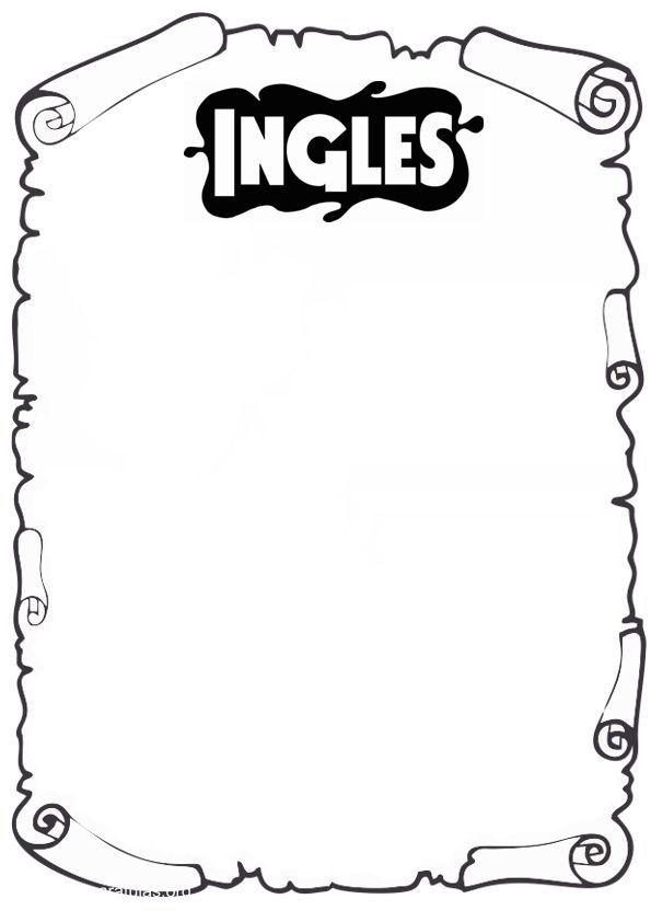Caratula De Ingles Para Pintar Dibujos Para Caratulas Caratulas Para Carpetas Caratula