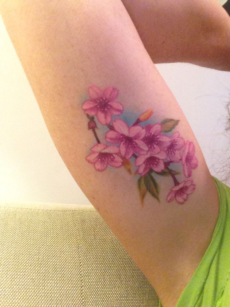 My BFF's new Chris Garver tattoo is amazing. [My Chris Garver cherry blossom tattoo. He's a very talented artist.]