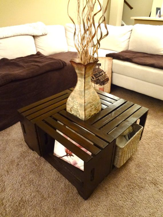 Shabby chic hand-made crate coffee table, rustic coffee table, crate table price $185.00 I'm making as a DYI project for $30.00 Priceless
