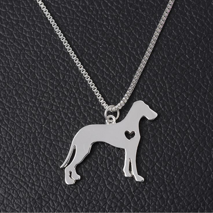 Hot sales Pitbull Jewelry, Great Dane Necklace, Hand Cut Dog Pendant with Heart For Christmas Personalized Pets Puppy Gifts