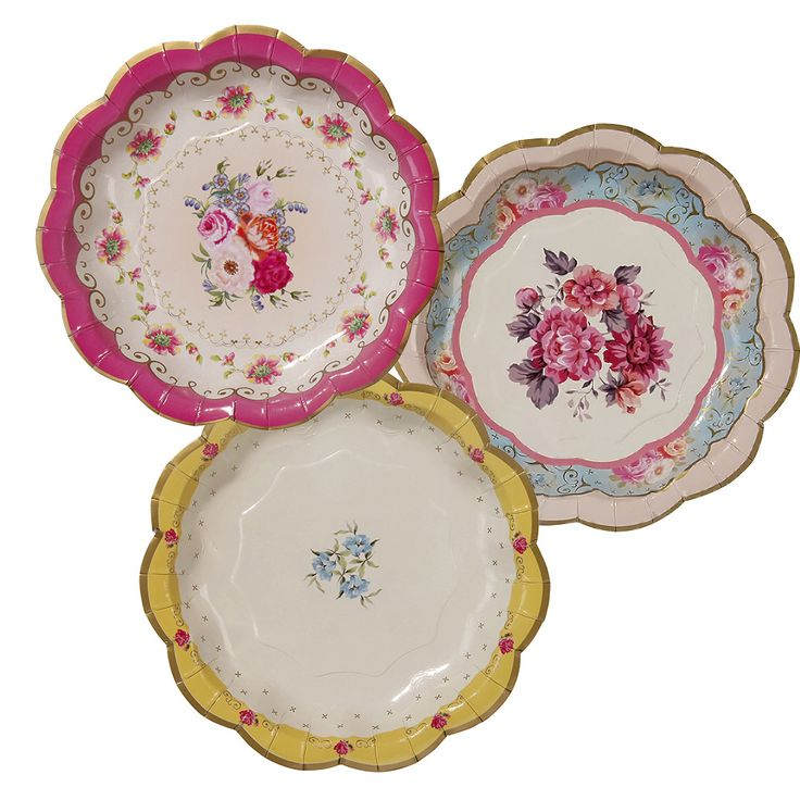 Recreate the sophisticated elegance of an afternoon tea party with these charming Truly Scrumptious paper plates in three beautiful vintage floral designs.