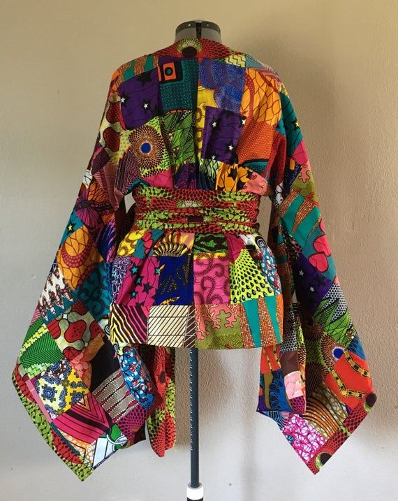 African Wax Print Patchwork Kimono Wrap Top With Wide Belt 100/% Cotton