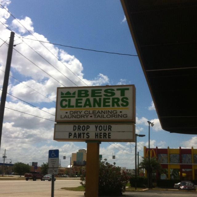 Only in Orlando.  The best dry cleaners are in between a waffle house and a hooters.  Only makes sense to drop your pants there.