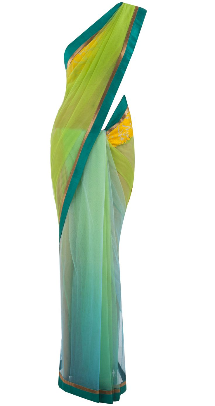 Green and teal blue patched net sari by MANISH MALHOTRA. Shop at https://www.perniaspopupshop.com/whats-new/manish-malhotra-14