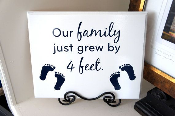 TWINS Our Family just grew by 4 feet Wood sign with by Frameyourstory,