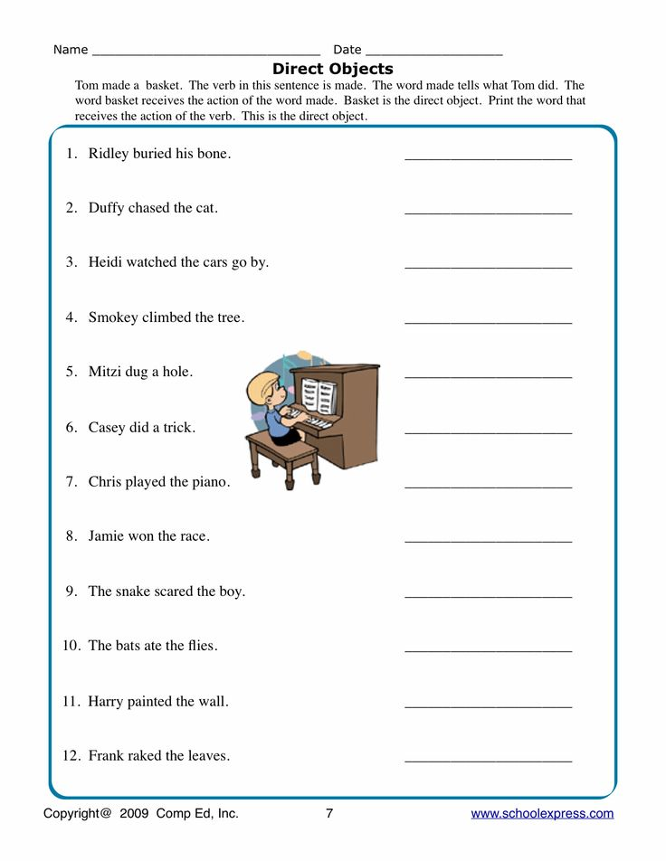 Direct Objects Worksheets : Noun Resources : Pinterest