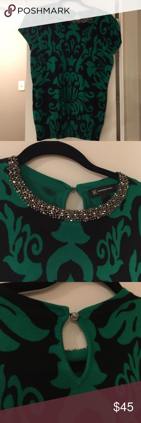 Macy INC Brand Beaded neck top Macy INC Brand Beaded neck top. Cute details. Rayon/nylon blend. Perfect with black pants! Like new INC International Concepts Tops Blouses