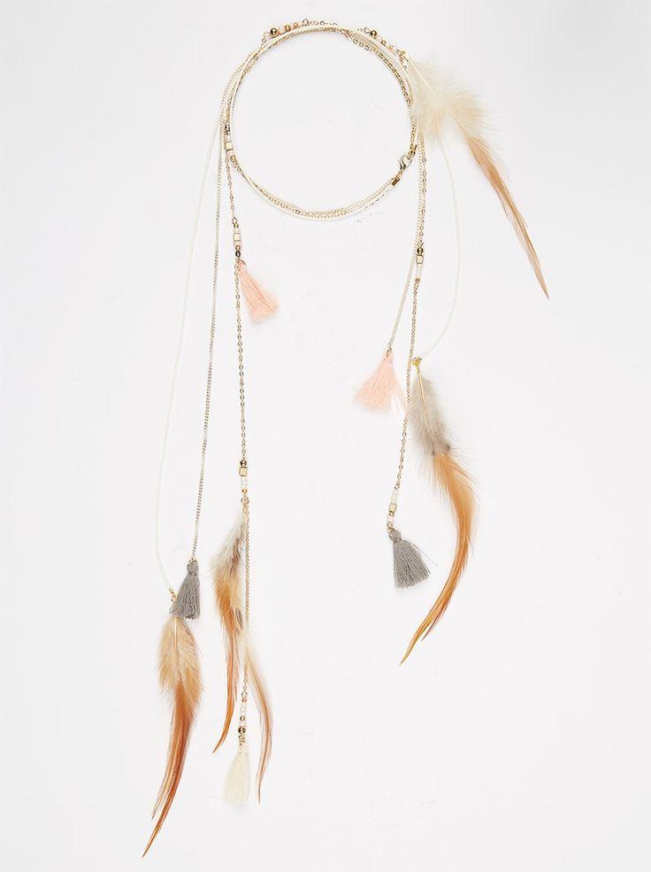 Tassel Feather Necklace Multi-colour