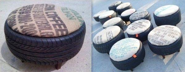 poufs avec de vieux pneus