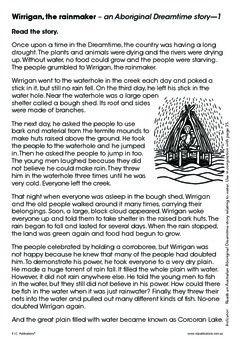 Wirrigan, the rainmaker - an Aboriginal Dreamtime comprehension. Exert from Class ideas: Splish splash. It's fun with water. http://www.ricgroup.com.au/product/issue-64-splish-splash-its-fun-with-water/
