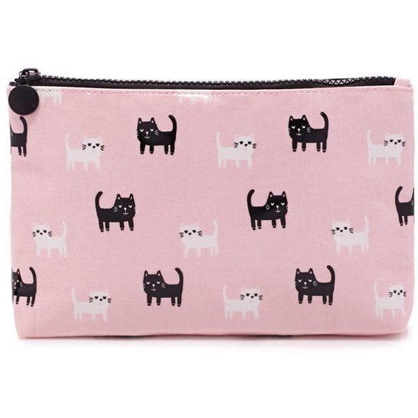Forever 21 Cat Print Makeup Bag found on Polyvore featuring beauty products, beauty accessories, bags & cases, toiletry bag, make up purse, wash bag, purse makeup bag and travel kit