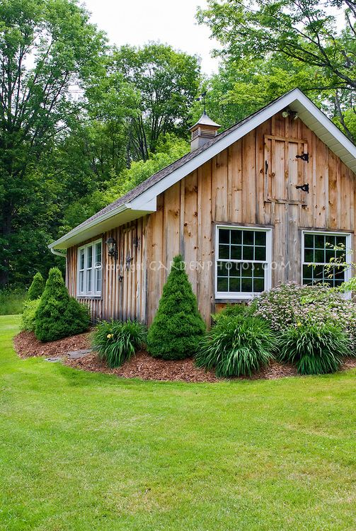 Large Wooden Shed Building Office With Evergreen