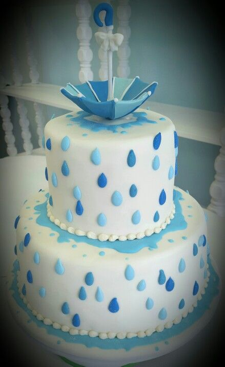 Raindrop Shower cake for a Rain Umbrella themed baby shower by Sweet Grace Anna's.   Matching cookies to follow.