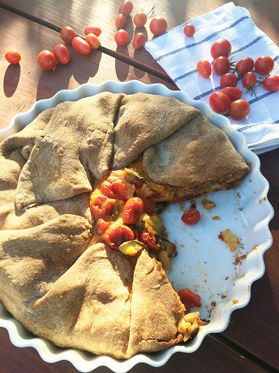 Cherry Tomato-Zucchini-Haloumi Pie with Whole Wheat Filo