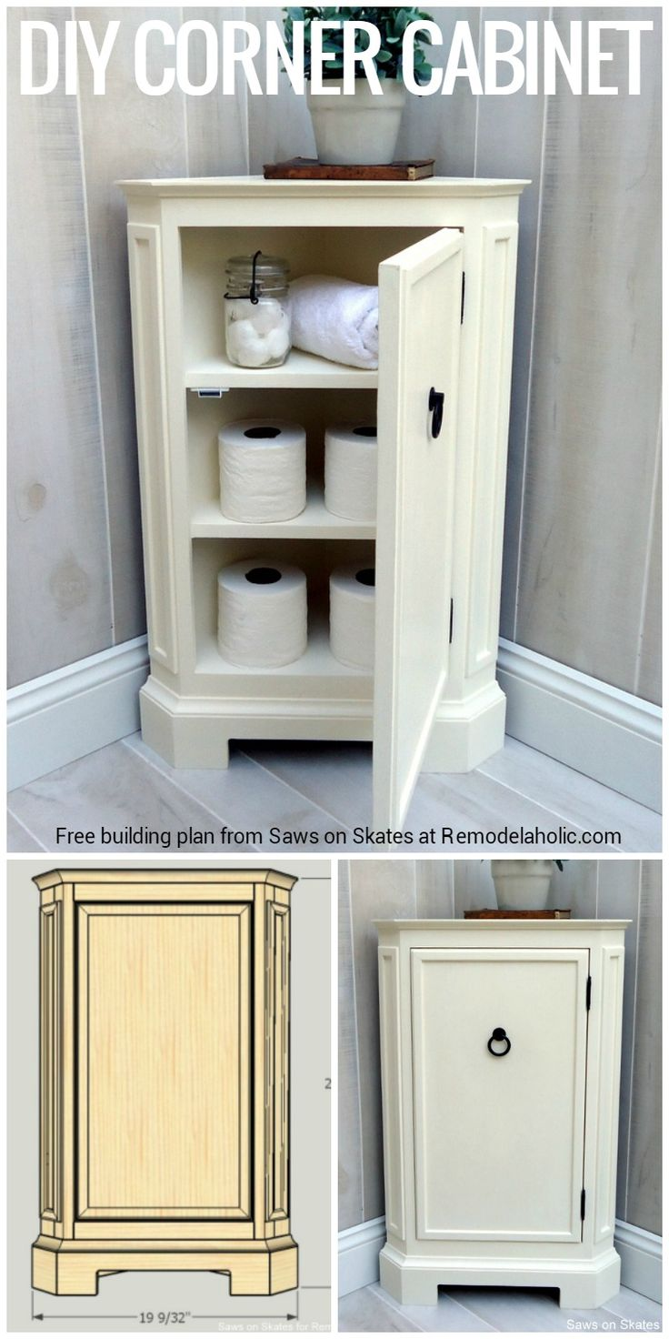 Build this catalog inspired corner cabinet with free building plans, perfect for adding storage to a bathroom, entryway, living room, or office.