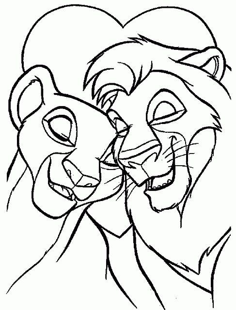 Nala e Simba innamorati disegni da colorare gratis