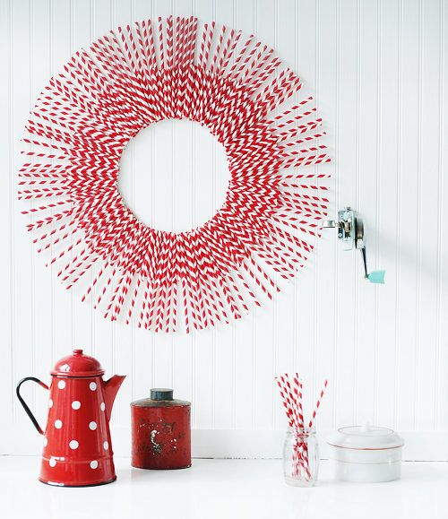 Sweet Paul's Paper Straw Wreath project exclusively on @Design*Sponge