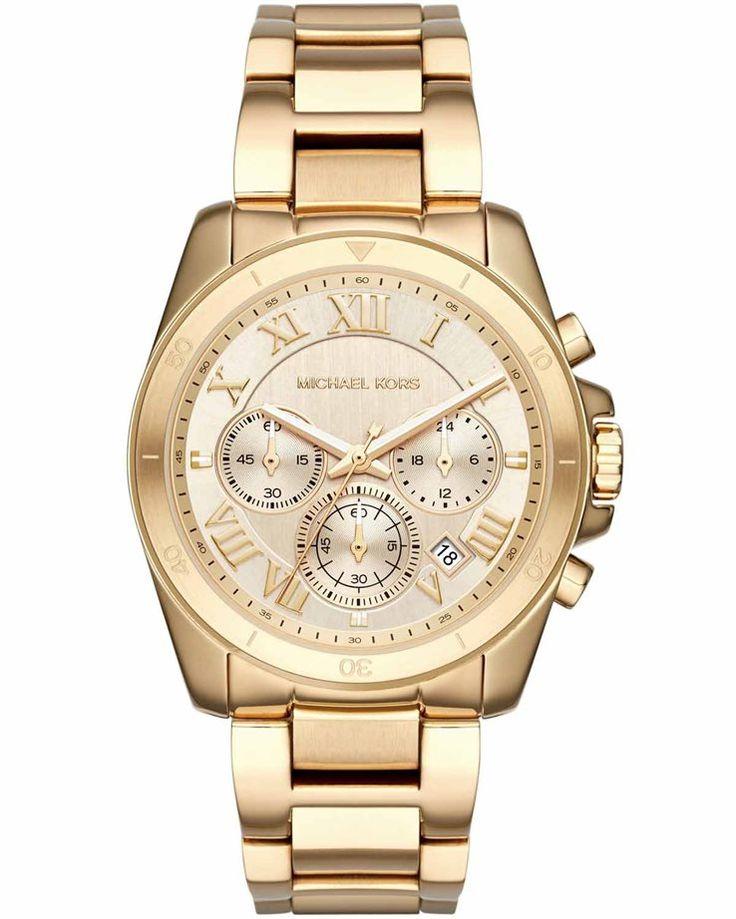 Μοντέρνο γυναικείο ρολόι από χρυσό ανοξείδωτο ατσάλι και χρυσό καντράν του οίκου MICHAEL KORS