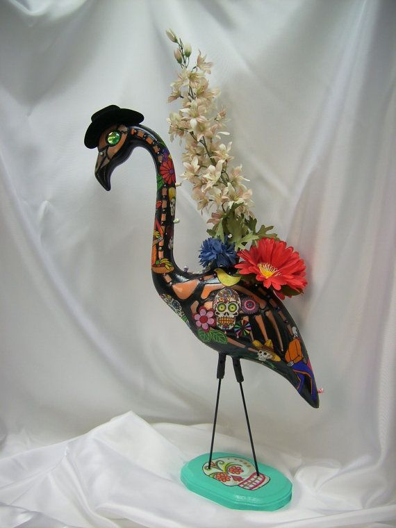 day of the dead skeleton flamingo,dia de los muertos sugar skull flamingo senor flores largas, plastic flamingo