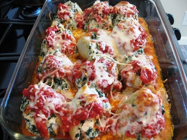 stuffed chicken shells with cheese. yum-yum-gimme-some-food