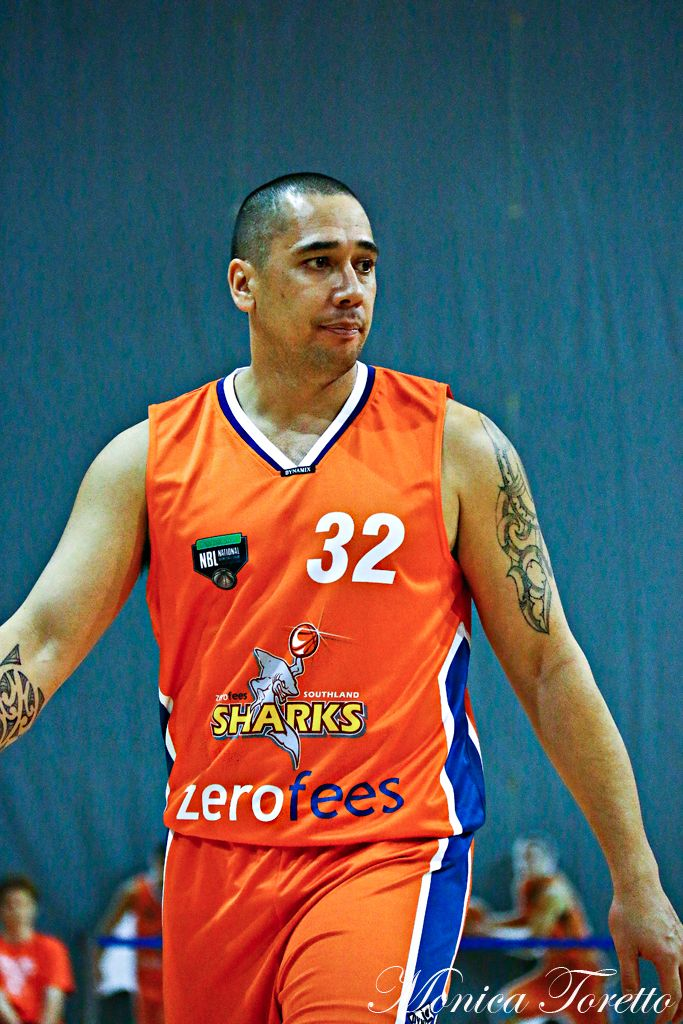 Southland Sharks' Coach & player Paul Henare in the game against Manawatu Jets at Stadium Southland.  June 07, 2014.   Sharks won 91-83.