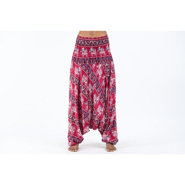 Aztec Elephants Jumpsuit Harem Pants in Red ($60) ❤ liked on Polyvore featuring pants, white yoga pants, harem pants, white harem pants, elephant yoga pants and yoga pants