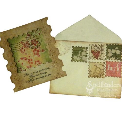 Classic Postage Stamp E8-005 Spellbinders edgeability die Card by Kimberly Crawford