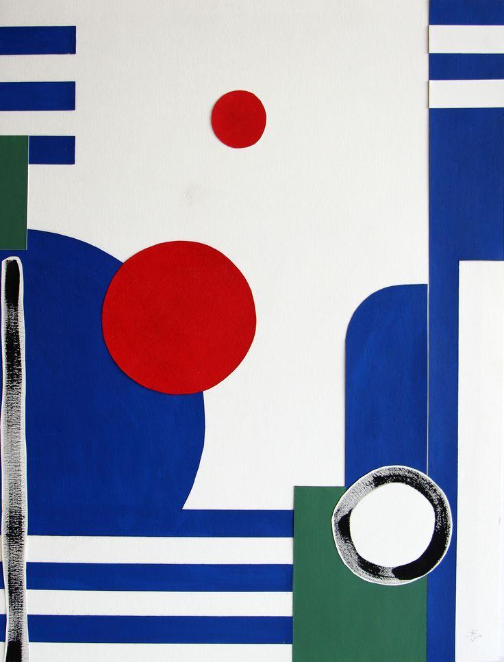 Renée Rossouw Scape III Oil on Canvas Paper, Collage 62.5 x 47.5 cm R4 800