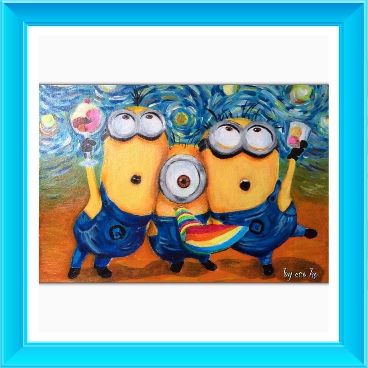 Acrylic drawing: Minions celebrating under the Van Gogh starry night