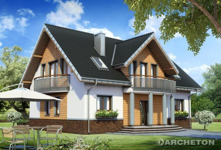 Projekt domu Akord Neo - widowiskowy dom, z balkonikiem nad wejściem, podpartym kolumnami