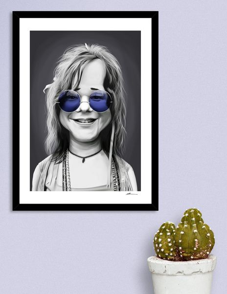 Discover «Janis Joplin Purple Glasses», Numbered Edition Fine Art Print by rob art | illustration - art | decor | wall art | inspiration | caricatures | home decor | idea | humor | gifts