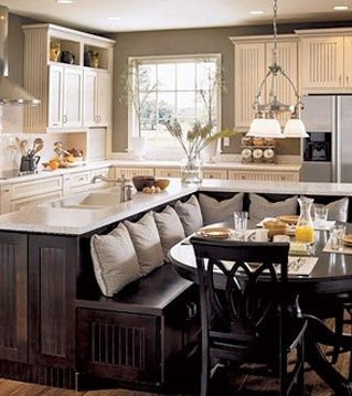 """""""Bench in the kitchen for small kitchens"""" wow... if this is a small kitchen, mine is extra tiny!"""