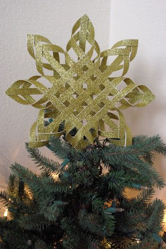 Woven Paper Tree Topper : Awesome idea; perhaps gold and bitter for the Sun!