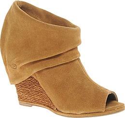 Bronx Leather Peep Toe Wedge Raffia Boot