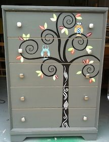 Super cute for a kids room, I might have to do this!!! Whimsy Furniture - Unique, Hand-Painted Furniture...omg I'm in love!!!