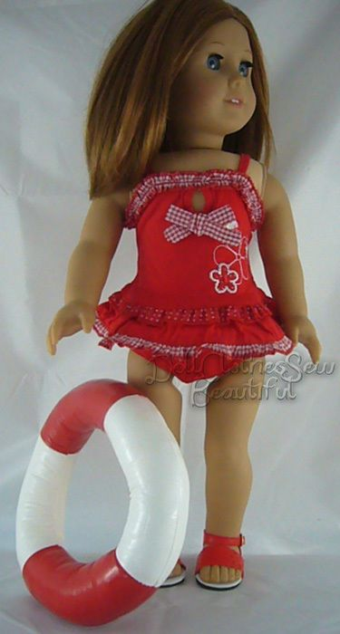 """RED SWIMSUIT BATHING SUIT made for 18"""" American Girl Doll Clothes"""