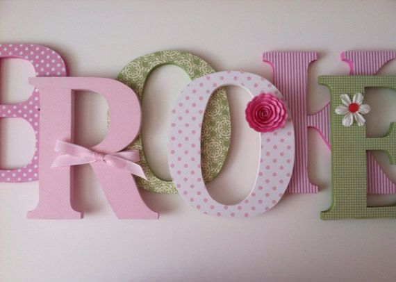 nursery wooden wall letters in pink and green by summerolivias