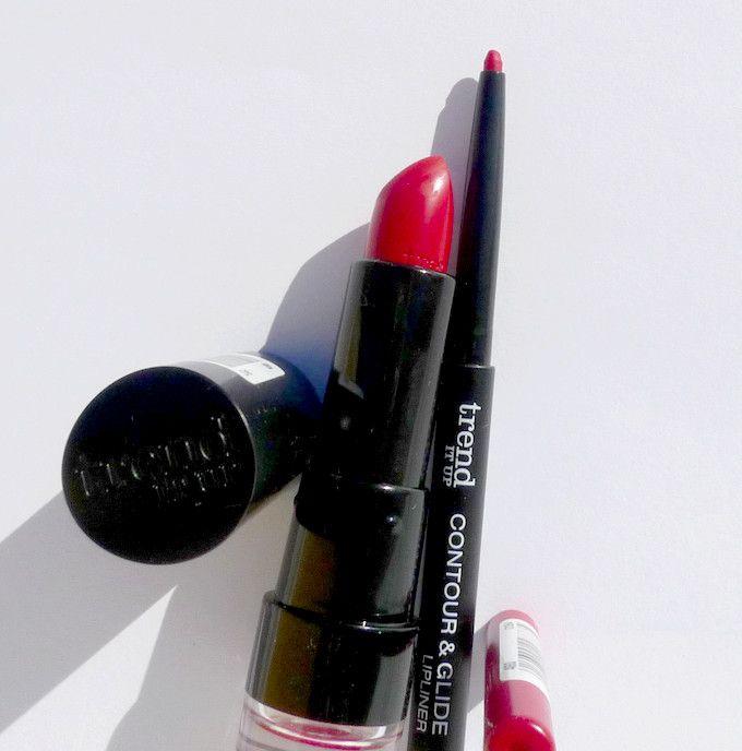 Trend It Up červená rtěnka Ultra Matte Lipstick a tužka na rty Contour & Glide Lipliner, oboje v odstínu 460