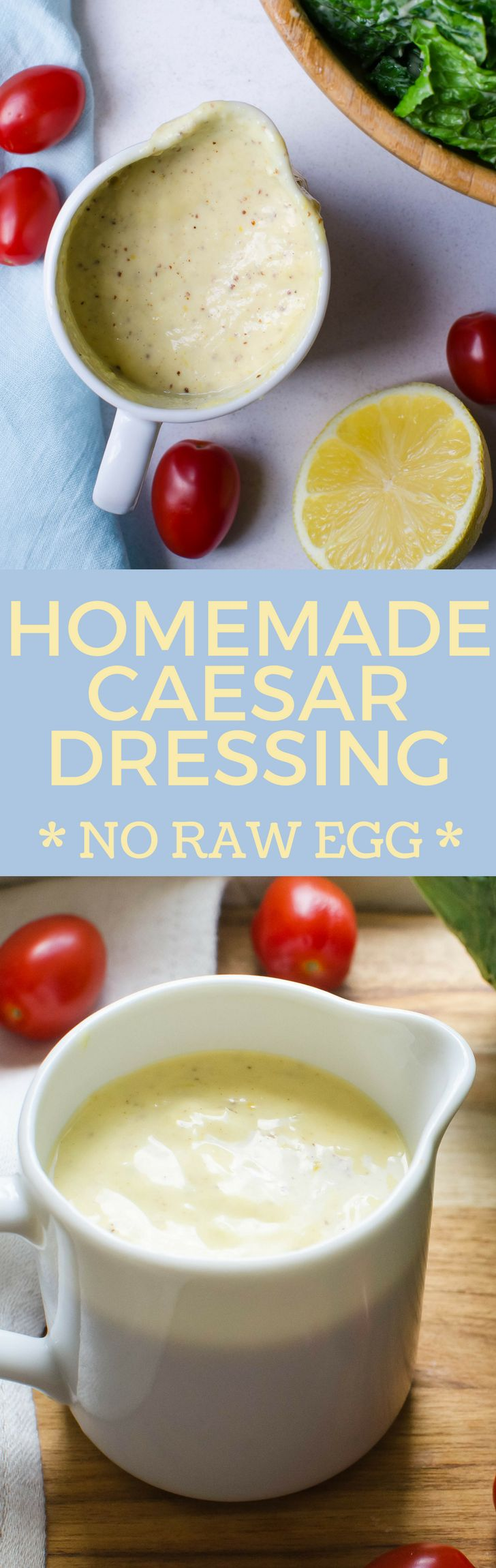 Never buy bottled dressing again! This easy caesar dressing is everything you want in homemade caesar dressing - garlicky with salty depth and no raw egg!