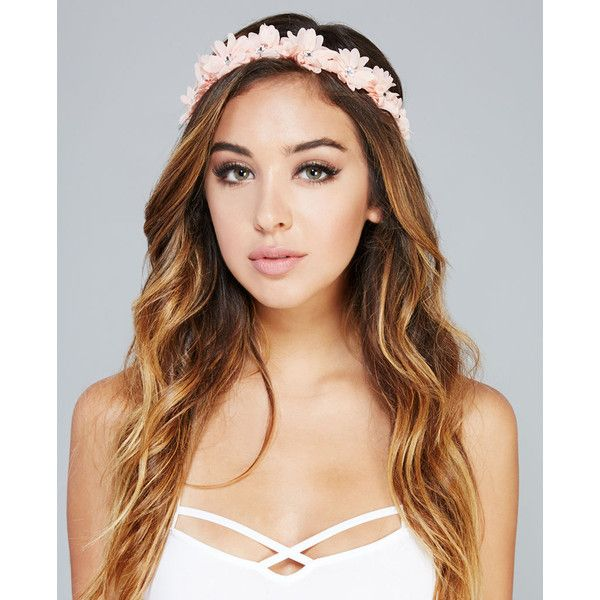 Rhinestone Center Flower Crown ($2.99) ❤ liked on Polyvore featuring accessories, hair accessories, hair, peach, hippie flower headbands, flower headbands, flower hair accessories, boho headbands and floral crown