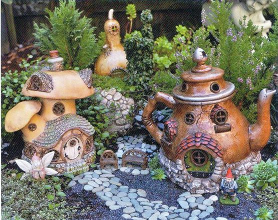 Teapots and mushrooms make for beautiful Fairy homes.